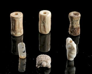 Lot of 6 Sumerian Stone Beads and Seals