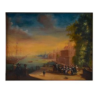 19th Century Oil on Board, Dutch Canal Scene
