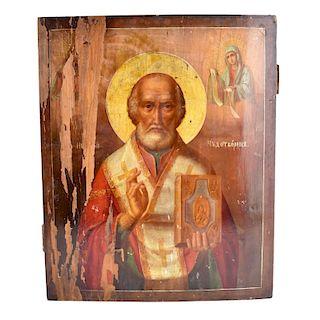 19th Century Russian Icon on Wood Panel