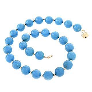 Turquoise and 14K Necklace