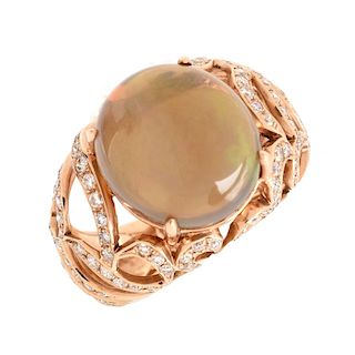 Opal, Diamond and 18K Gold Ring