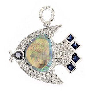 Black Opal, Diamond and 18K Gold Pendant