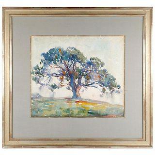 A watercolor by Harold Davies (1891 - 1976).