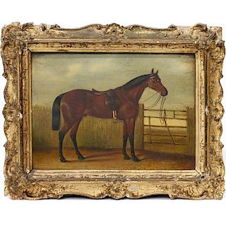 A 19th century painting of a hunting horse.