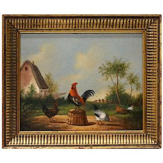 A 19th century painting of a barnyard.