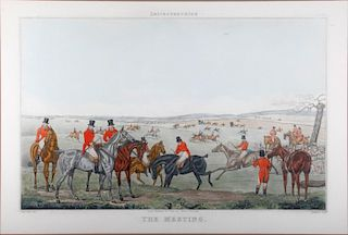 A set of four early 19th century hand colored English prints of a fox hunt.