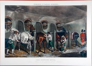A 19th century English print of horse stables.