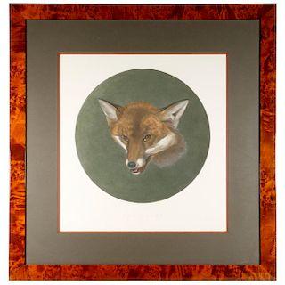 A large print of a fox head.