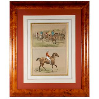 A pair of framed 19th century racing prints.