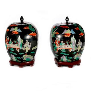 A pair of 19th century Chinese ginger jars.