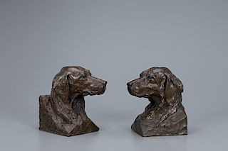 Walter T. Matia (b. 1953) Canine Bookends