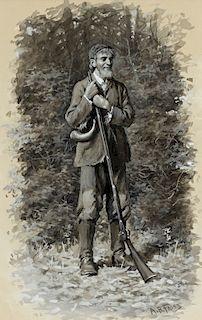 Arthur Burdett Frost (1851-1928) Sawney with his Long Rifle