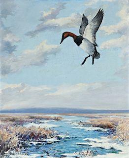 Roland Clark (1874-1957) Winter Marsh - Canvasback