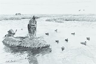 Peter Corbin (b. 1945) Two Duck Hunting Drawings