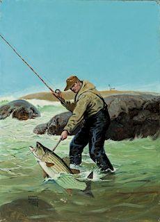 Lynn Bogue Hunt (1878-1960) Striped Bass Fishing