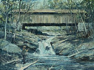 Eric Sloane (1905-1985) Hyde Park Bridge, VT