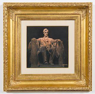 Morton Kunstler, 'Lincoln Memorial' Gouache/Board