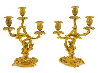 A Pair of Louis XV Style Gilt Bronze Three-Light Candelabra