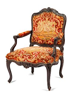 A Louis XV Style Needlepoint Upholstered Armchair