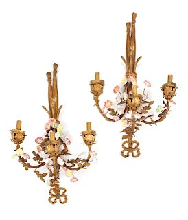 A Pair of Louis XV Style Gilt Bronze and Porcelain Three-Light Sconces