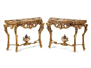 A Pair of Louis XV Style Porcelain Mounted Gilt Bronze Console Tables