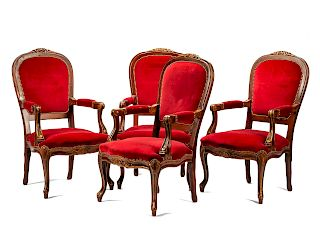 A Set of Eight Louis XV Style Armchairs