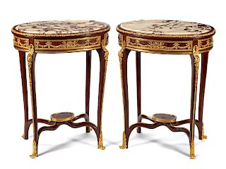 A Pair of Louis XV Style Gilt Bronze Mounted Side Tables