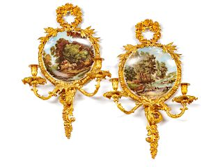 A Pair of Louis XV Style Gilt Bronze and Porcelain Two-Light Girandoles