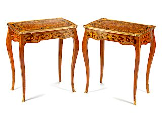 A Pair of Louis XV Style Gilt Bronze Mounted Marquetry Tables