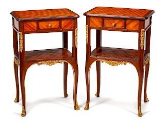 A Pair of Louis XV Style Gilt Bronze Mounted Occasional Tables