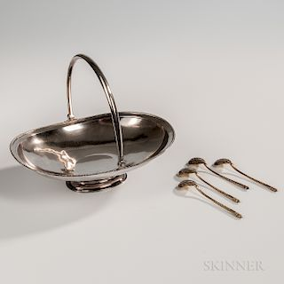 Five Pieces of Russian .875 Silver Tableware
