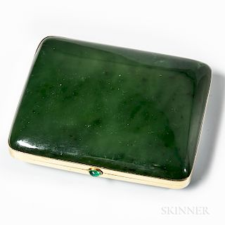 Gold-mounted Jade Cigarette Case