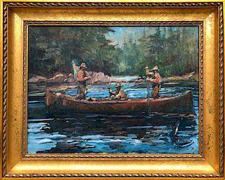 "David Lazarus Oil on Canvas ""Three Fisherman in a Canoe"""