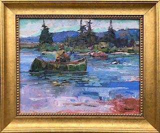"David Lazarus Oil on Canvas ""Lone Fisherman in Canoe"""