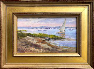 "William G. Hanson, ASMA Oil on Board ""Nantucket Harbor from the Creeks"""