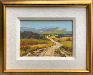"""Helen Sharp Potter Oil on Board """"The Road Through the Moors"""""""