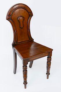 English Carved Mahogany Hall Chair