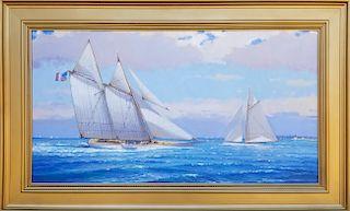 "William Lowe Oil on Linen ""Under Full Sail off Nantucket"""