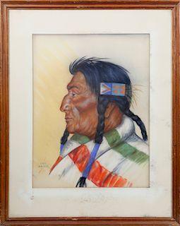 Daniel Cody Muller Pastel Portrait of a Plains Indian Elder