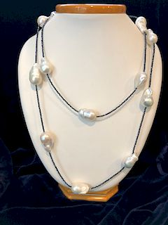 White Baroque Fresh Water Pearl Necklace