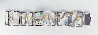 Sterling Silver and Vermeil Cat Bracelet