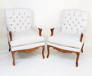 Pair of Linen Upholstered Carved French Fruitwood Louis XV Style Armchairs