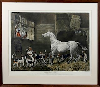 """Large Equestrian Lithograph """"Left at Home"""""""