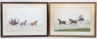 Pair of Watercolors Gouache Stage Coach Scenes