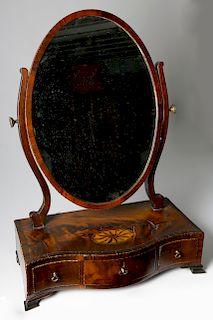 George III Inlaid Mahogany Dressing Glass