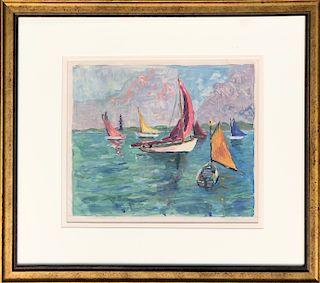 "Hortense Ferne Oil on Paper ""Rainbow Fleet-Nantucket"""