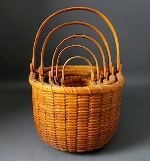 Nest of 5 Arthur Martin Oval Swing Handle Baskets