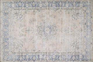 Hand-Knotted White Wash Vintage Kerman Oriental Rug