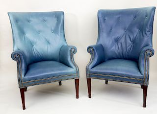 Pair of Hepplewhite Style Green-Teal Blue Leather Upholstered Barrel Back Wing Chairs
