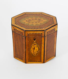 English Regency Inlaid Octagonal Single Compartment Tea Caddy